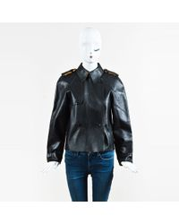 Ralph Lauren - Polo Black   Tan Leather Double Breasted Jacket - Lyst f0e81ddd4b6