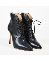 Pour La Victoire - Black Leather Lace Up Pointed Toe Ankle Boots - Lyst