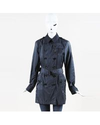 Burberry Brit - Blue Nylon Belted Trench Coat - Lyst