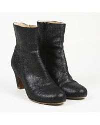 Maison Margiela - Metallic Black Textured Leather Ankle Boots - Lyst