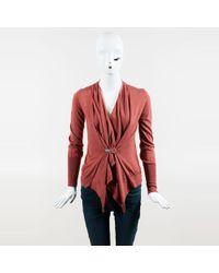 Brunello Cucinelli - Red Cashmere & Silk Draped Single Button Cardigan - Lyst
