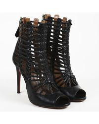"Aquazzura - Black Calf Leather Peep Toe ""venus"" Sandals - Lyst"