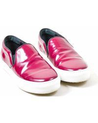 Céline - Burgundy Leather Round Toe Slip On Skater Sneakers - Lyst