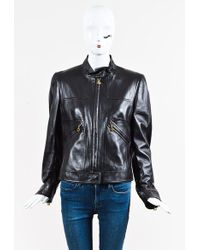 ESCADA - Brown Leather Zip Up Jacket - Lyst