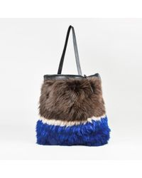 "Rachel Comey - Brown Cream & Blue Fur & Leather ""malcolm"" Foldover Tote Bag - Lyst"