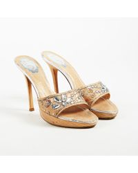 Rene Caovilla - Metallic Gold Crystal & Bead Embellished Platform Sandals - Lyst