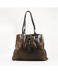 Henry Beguelin - Brown Distressed Leather Fringe Tassel Shoulder Bag - Lyst