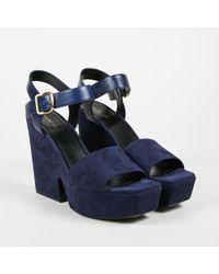 "Céline - Nwot ""navy"" Blue Suede & Leather Platform Wedge Sandals - Lyst"