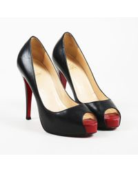 758388d29ca ... best price christian louboutin black leather very prive peep toe pumps  lyst 81fd8 c409b