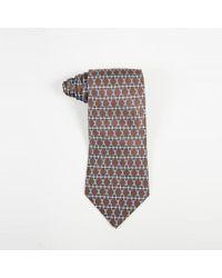 Hermès - Mens Brown Blue & Gray Silk Twill Geometric Print Tie - Lyst