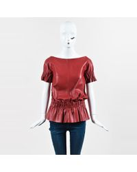 Thakoon - Red Leather Ruffle Banded Short Sleeve Top - Lyst