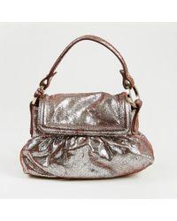 Fendi - Metallic Silver & Brown Distressed Suede Mini Flap Bag - Lyst