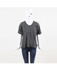 Burberry Brit - Nwt Blue Cream Linen Knit Striped Ss Top - Lyst