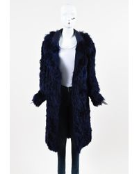 Tom Ford - Violet Blue Alpaca Fur Leather Oversized Collar Long Coat Sz 40 - Lyst