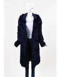 Tom Ford - Violet Blue Alpaca Fur Leather Oversized Collar Long Coat - Lyst