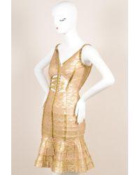 Hervé Léger - Gold Metallic Printed Beaded Cut Out Bodycon Dress Sz M - Lyst
