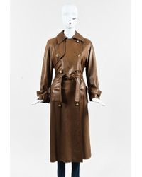 Hermès - Brown Lambskin Leather Double Breasted Belted Trench Coat - Lyst