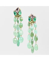 Iradj Moini - Gold Tone Green Fluorite Crystal Quartz Amethyst Chandelier Earrings - Lyst