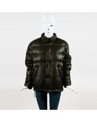 Burberry Brit - Green Quilted Nylon Zip Up Down Coat - Lyst