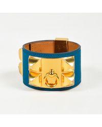 """Hermès - """"cobalt"""" Blue """"epsom"""" Leather """"collier De Chien"""" Cuff Bracelet Sz S - Lyst"""