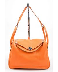 "Hermès - Fire Orange Taurillon Clemence Calfskin Leather 30cm ""lindy"" Handbag - Lyst"