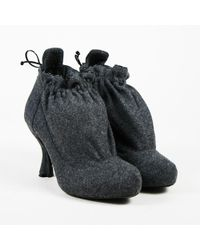 Nina Ricci - Gray Wool Round Toe Flannel Booties - Lyst
