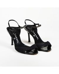 ac079e7ebee Chanel - Patent Leather Chainlink Sandals - Lyst