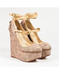 Charlotte Olympia - Gold Lace Patent Trim Platform Wedge Heel Court Shoes - Lyst