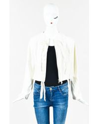 Dior | Cream Tweed Chiffon Laced Zip Up Cropped Jacket | Lyst
