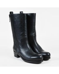 "Dior - Black Grained & ""cannage"" Leather Round Toe Knee High Boots Sz 38 - Lyst"