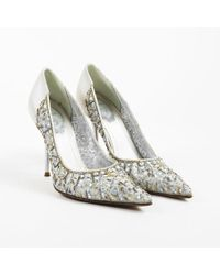 Rene Caovilla - Gray Satin Beaded & Sequined Pointed Pumps - Lyst
