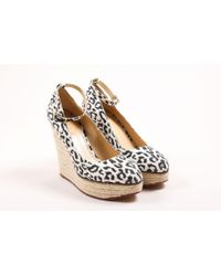 Charlotte Olympia - White Black Leopard Print Espadrille Wedge Court Shoes - Lyst
