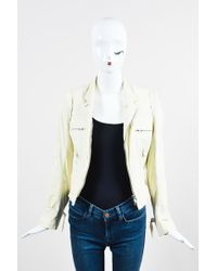 Ann Demeulemeester - Cream Leather Crinkled Distressed Ls Moto Jacket - Lyst