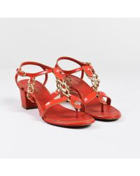 Chanel - Red Patent Leather Chain Link Strappy Block Heel Sandals - Lyst