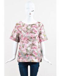 Matthew Williamson | Pink Multicolor Floral Print Short Sleeve Top | Lyst