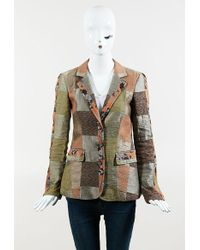 Etro - Brown Orange Multi Linen Blend Floral Patchwork Collared Jacket - Lyst