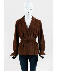 Ralph Lauren - Brown Suede Collared Button Up Belted Jacket - Lyst