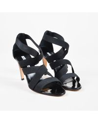 4b3f2d87a7035 Manolo Blahnik Veggia Elastic & Cork Wedge Sandals in Black - Lyst