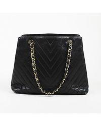 Chanel - Vintage Black Chevron Leather Shoulder Bag - Lyst