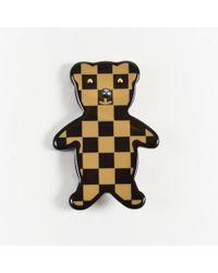 "Louis Vuitton - Brown ""damier Ebene"" Bear Pin - Lyst"