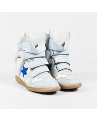"""Isabel Marant - Blue & White Suede & Canvas """"bayley"""" Wedge Sneakers - Lyst"""