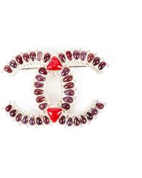Chanel Gripoix Cc Brooch Pin - Red