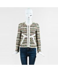 IRO - Cream Multicolor Woven Knit Leather Trim Patterned Long Sleeve Jacket - Lyst