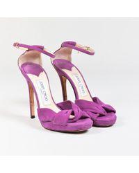 """Jimmy Choo - Light Purple Suede Open Toe """"marion"""" Sandals - Lyst"""