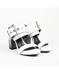 "Barbara Bui - ""buckle"" White Leather Sandals - Lyst"