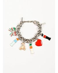 Moschino   Silver Toned And Multicolour Enamel Chunky Chain Charm Bracelet   Lyst