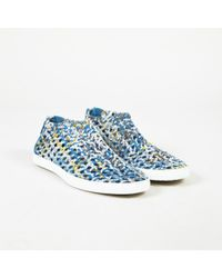 """Hermès - Blue Multi Woven """"oxygene"""" Low Platform Sneakers - Lyst"""