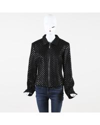 St. John - Coat Collection Black Textured Leather Jacket - Lyst