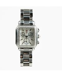 Michele - Stainless Steel Mother Of Pearls Diamonds Multi Strap Watch - Lyst