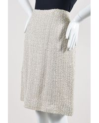 Chanel - 99p Cream Woven Tweed Knee Length A Line Skirt - Lyst